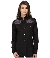 Roper 0736 Solid Poplin Fancy Shirt Black Women's Clothing