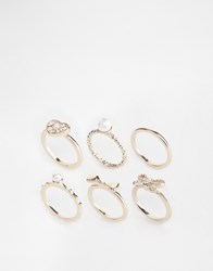 Lipsy Pearl Bow And Heart Ring Stacker Set Creampalegold