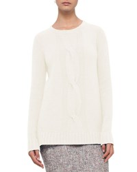 Akris Punto Cable Knit Wool Cashmere Sweater Cream