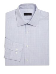 Ike Behar Checkered Cotton Dress Shirt Purple