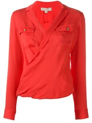 Michael Michael Kors Cross Over Draped Blouse Red