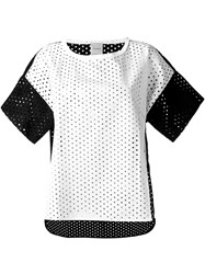 Nude Perforated Colour Block T Shirt White