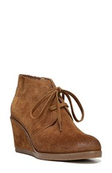 Franco Sarto Women's 'Austine' Lace Up Wedge Bootie Cognac Suede