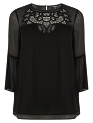 Warehouse Embroidered Smock Top Black