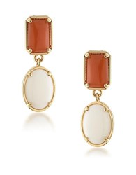 1St And Gorgeous Cabochon Double Drop Earrings Gold