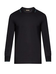 Bottega Veneta Long Sleeved Contrast Panel Polo Shirt Navy