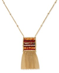 Inc International Concepts Gold Tone Woven Bead Fringe Pendant Necklace Only At Macy's Orange