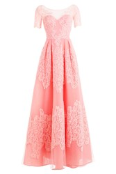 Zuhair Murad Floor Length Silk Blend Gown With Lace And Point Desprit Rose