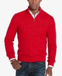 Polo Ralph Lauren Men's Cable Knit Mock Neck Sweater Martin Red