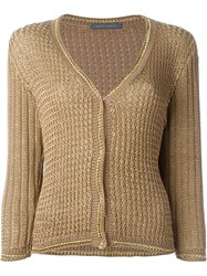 Alberta Ferretti Three Quarter Sleeve Cardigan Brown