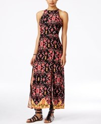 Material Girl Juniors' Printed Strappy Back Maxi Dress Only At Macy's Caviar Black Combo