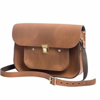 N'damus London Vintage Tan 11 Inches Mini Pocket Satchel Brown