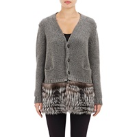 Barneys New York Fur And Cashmere Cardigan Charcoal