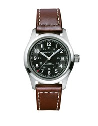 Hamilton Khaki Field Leather Strap Round Automatic Watch Brown