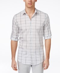Alfani Red Men's Crosshatch Plaid Long Sleeve Shirt Only At Macy's