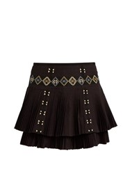 Vanessa Bruno Fabio Embroidered Pleated Cotton Skirt Black