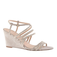 J.Crew Jeweled Suede Strappy Wedges Pale Thistle