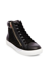 Steve Madden Elyka Leather Side Zipper Perforated Athletic Sneakers Black
