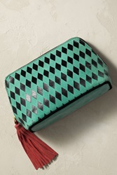 Anthropologie Chequered Diamonds Cosmetic Case Mint