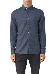 Allsaints Shire Slim Fit Cotton Shirt Indigo Blue
