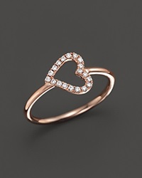 Bloomingdale's Diamond Heart Midi Ring In 14K Rose Gold .08 Ct. T.W. White Rose