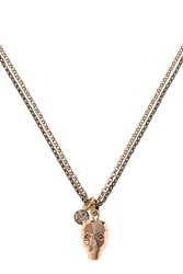 Nadia Minkoff Glass Skull Necklace Rose Gold