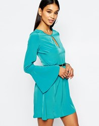 Lipsy Belted Skater Dress With Keyhole Neck And Bell Sleeve Green