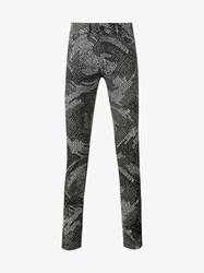 Kenzo Psychedelic Camouflage Print Jeans Black White Blue Denim