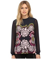 Ted Baker Naylia Surreal Tapestry Long Sleeve Top Dark Blue Women's Long Sleeve Pullover