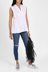 Alexander Wang V Neck Placket Shirt White