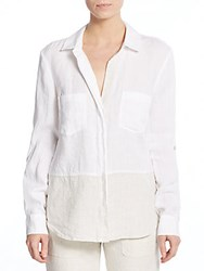 Saks Fifth Avenue Two Tone Linen Blouse