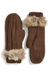Women's Love Token Cable Knit Mittens With Genuine Rabbit Fur Trim