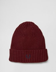 Fred Perry Ribbed Logo Beanie Red