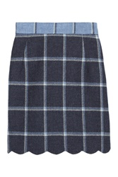 House Of Holland Coco Checked Wool Mini Skirt Blue