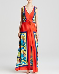 Tracy Reese Maxi Dress Sleeveless Botanical Print Front Slit Multi Tropical