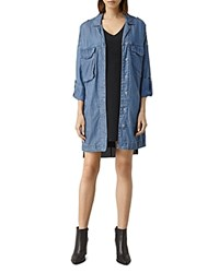 Allsaints May Chambray Utility Jacket Indigo Blue