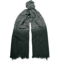 Incotex Degrade Wool Blend Scarf Dark Green