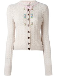 Olympia Le Tan Flower Detail Cardigan Nude And Neutrals