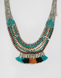 Pieces Benua Tassel Necklace Silver Multi