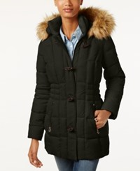 Laundry By Design Faux Fur Trim Toggle Puffer Coat Military Green
