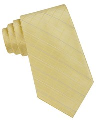 Calvin Klein Classic Fit Etched Windowpane Plaid Silk Tie Yellow