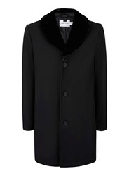 Topman Black Wool Rich Faux Fur Collar Overcoat