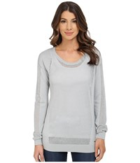 Calvin Klein Jeans Modern Mesh Crew Neck Sweater Silver Grey Women's Sweater