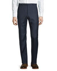 Neiman Marcus 30 Doors Wool Straight Leg Trousers Navy Shark