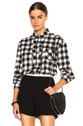 Red Valentino Gingham Oversized Ruffle Top In Black Checkered And Plaid