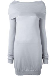 Jil Sander Off The Shoulder Jumper Grey