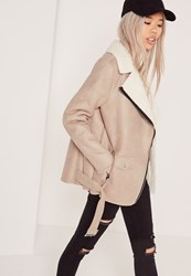 Missguided Faux Suede Shearling Lined Biker Jacket Nude Stone