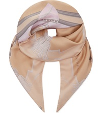 Aspinal Of London Signature Print Silk Scarf Nude