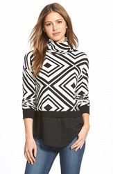 Women's Kensie Layered Look Geometric Turtleneck Sweater Ivory Combo