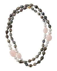 Belpearl Tahitian Pearl And African Opal Necklace